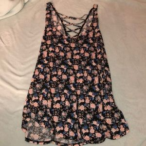 Small floral tank top with laced back